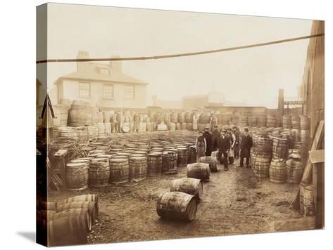 Ebano Bitumen Stored at Elizabeth Wharf, Limehouse, London, C1900--Stretched Canvas Print