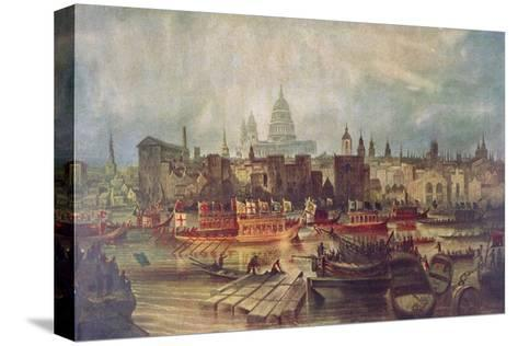 The Lord Mayor's Procession by Water to Westminster, London, C1820--Stretched Canvas Print