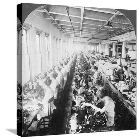 Sewing Room in a Large Shoe Factory, Syracuse, New York, USA, Early 20th Century--Stretched Canvas Print