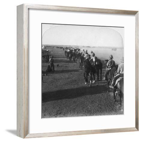 The 38th Battery at the Modder before Taking Part in Roberts' Advance, South Africa, Boer War, 1900-Underwood & Underwood-Framed Art Print