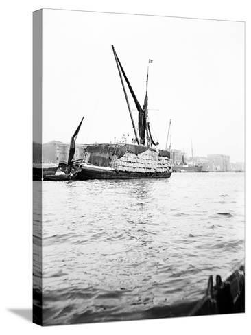 Topsail Barge on the Thames with its Top Mast Lowered, London, C1905--Stretched Canvas Print