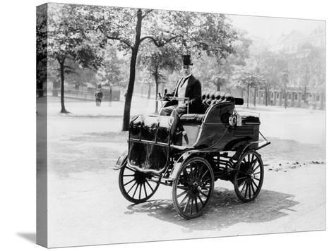 Roger Wallace in His Electric Car, 1899--Stretched Canvas Print