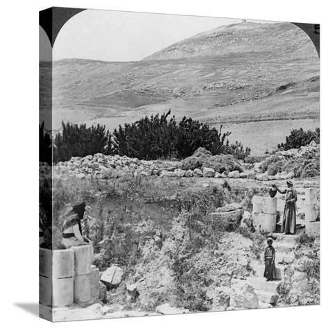 Steps Leading to Jacob's Well, Looking Northwest, Palestine (Israel), 1905-Underwood & Underwood-Stretched Canvas Print