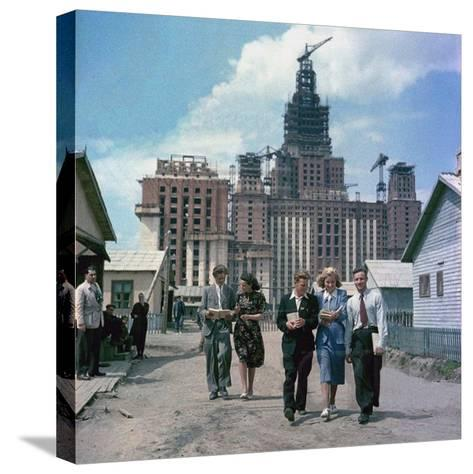 The Construction of the Main Building of Moscow State University on Lenin Hills--Stretched Canvas Print