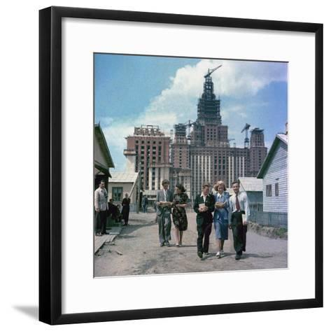 The Construction of the Main Building of Moscow State University on Lenin Hills--Framed Art Print