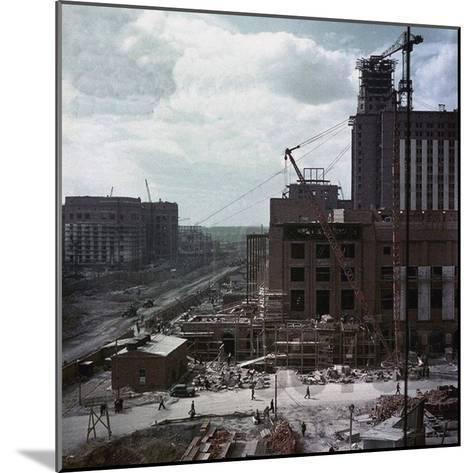 The Construction of the Main Building of Moscow State University on Lenin Hills--Mounted Giclee Print