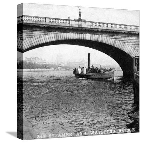 A Steamer Passing Underneath Waterloo Bridge, London, Early 20th Century--Stretched Canvas Print