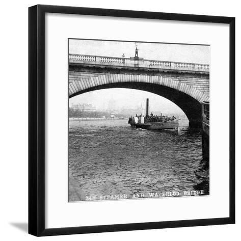 A Steamer Passing Underneath Waterloo Bridge, London, Early 20th Century--Framed Art Print