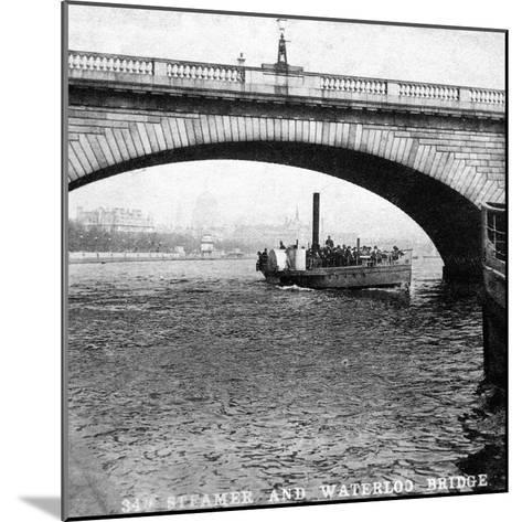 A Steamer Passing Underneath Waterloo Bridge, London, Early 20th Century--Mounted Giclee Print