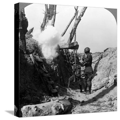 Soldiers Waiting in the Trenches to Go over the Top, World War I, 1914-1918--Stretched Canvas Print