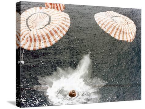 The Apollo 15 Capsule Lands Safely Despite a Parachute Failure, Mid-Pacific Ocean, 1971--Stretched Canvas Print