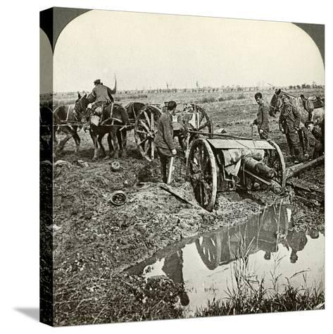 Removing a Field Gun from a Flooded Position, World War I, 1914-1918--Stretched Canvas Print