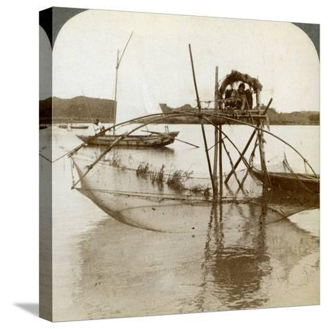Toiler of the Sea, with His Curious Fishing Net, Bay of Matsushima, Japan, 1904-Underwood & Underwood-Stretched Canvas Print