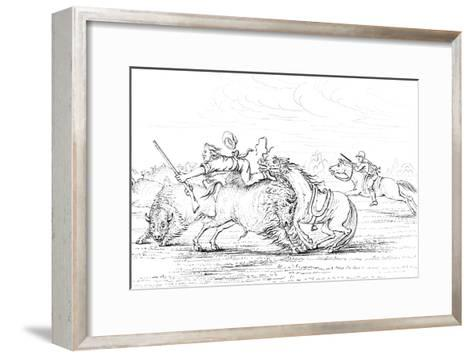 Buffalo Attacking a Cowboy on a Horse, 1841-Myers and Co-Framed Art Print
