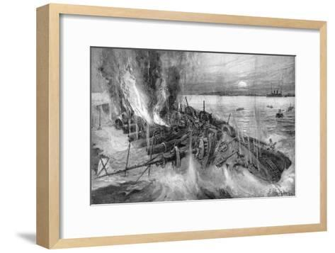 Russian Cruiser Foundering at the Battle of Cehmulpo, Russo-Japanese War, 1904-5--Framed Art Print