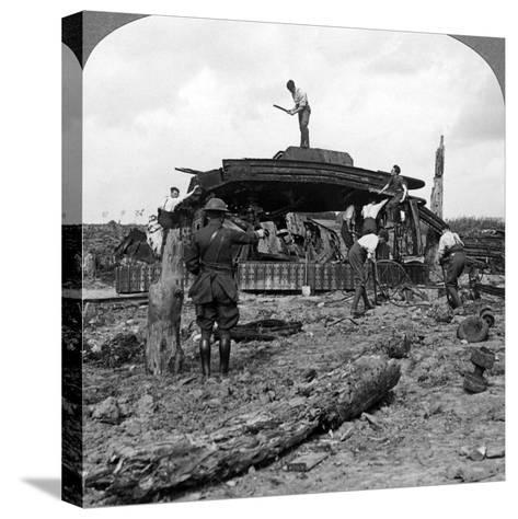 Engineers Clearing a Destroyed Tank from a Road, World War I, 1917-1918--Stretched Canvas Print