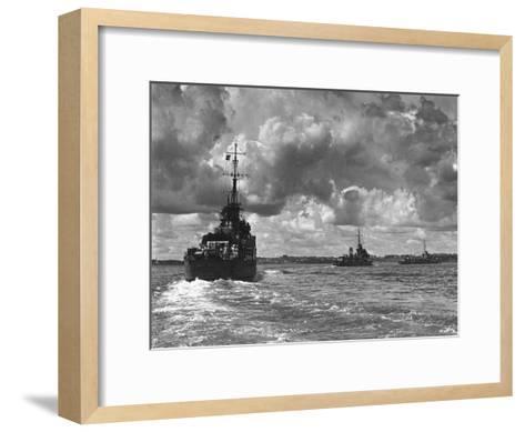British Warships Entering Sydney Harbour, Australia, 1945--Framed Art Print