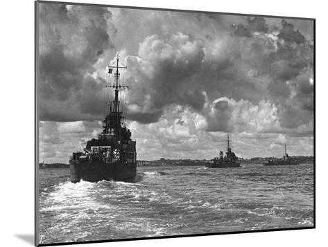 British Warships Entering Sydney Harbour, Australia, 1945--Mounted Giclee Print