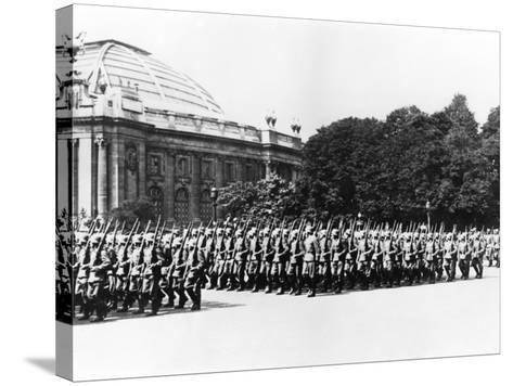 German Troops Parading before the German Commandant of Paris, 8 July 1941--Stretched Canvas Print