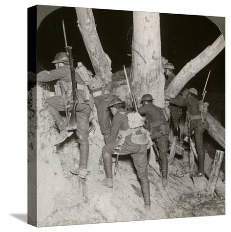 Soldiers Leaving a Trench for a Night Raid at Messines, Belgium, World War I, 1914-1918--Stretched Canvas Print