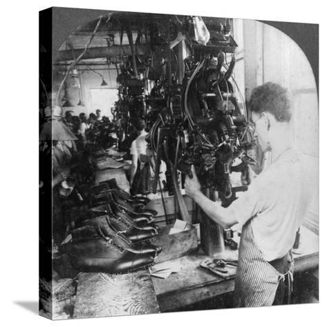 Lasting Machine Shaping Shoes in Shoe Factory, Lynn, Massachusetts, USA, Early 20th Century--Stretched Canvas Print