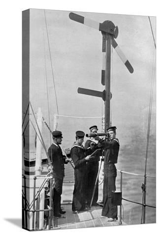 Signalling by Semaphore on Board HMS Camperdown, 1895-Gregory & Co-Stretched Canvas Print