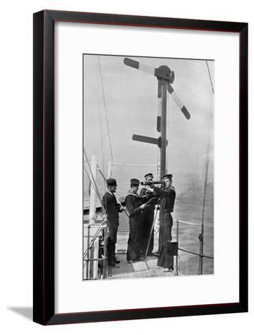 Signalling by Semaphore on Board HMS Camperdown, 1895-Gregory & Co-Framed Art Print