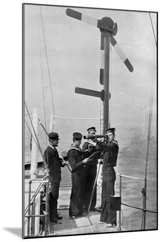 Signalling by Semaphore on Board HMS Camperdown, 1895-Gregory & Co-Mounted Giclee Print
