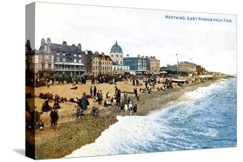 East Parade from the Pier, Worthing, Sussex, Early 20th Century--Stretched Canvas Print