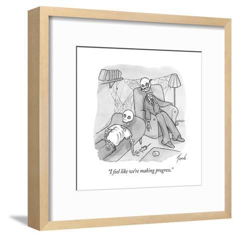 """I feel like we're making progress."" - Cartoon-Tom Toro-Framed Art Print"