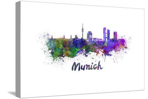 Munich Skyline in Watercolor-paulrommer-Stretched Canvas Print