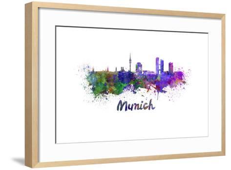 Munich Skyline in Watercolor-paulrommer-Framed Art Print