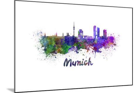 Munich Skyline in Watercolor-paulrommer-Mounted Art Print