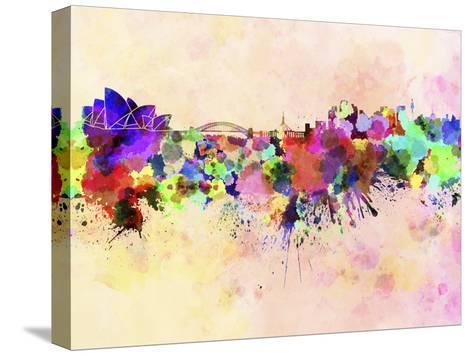 Sydney Skyline in Watercolor Background-paulrommer-Stretched Canvas Print