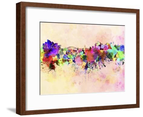 Sydney Skyline in Watercolor Background-paulrommer-Framed Art Print