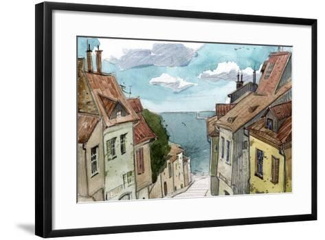 Watercolor Sketch of the Old European Streets-polinina-Framed Art Print