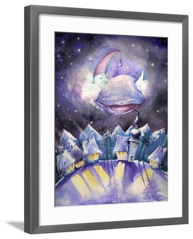 Moon Sleeping on a Cloud.Watercolors.-DannyWilde-Framed Art Print