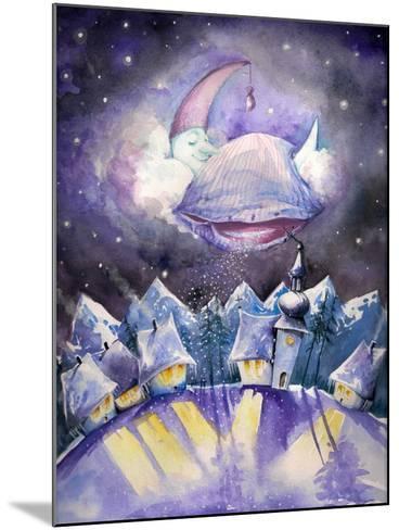 Moon Sleeping on a Cloud.Watercolors.-DannyWilde-Mounted Art Print