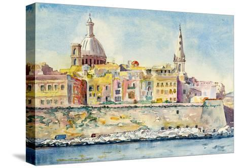 A Watercolor Painting of Valletta, Malta-clivewa-Stretched Canvas Print
