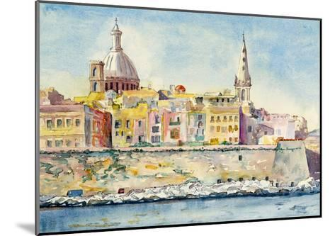 A Watercolor Painting of Valletta, Malta-clivewa-Mounted Art Print