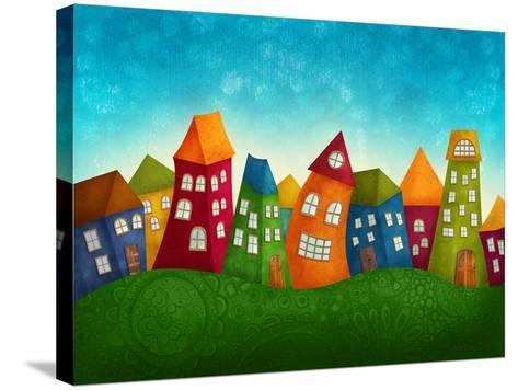 Fantasy Colorful Houses-Elena Schweitzer-Stretched Canvas Print