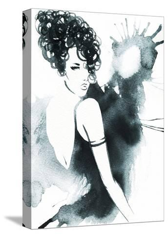 Art Sketch of Beautiful Young Woman in Dress.-Anna Ismagilova-Stretched Canvas Print