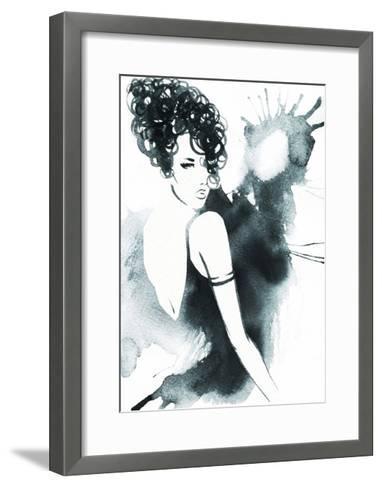 Art Sketch of Beautiful Young Woman in Dress.-Anna Ismagilova-Framed Art Print