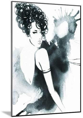 Art Sketch of Beautiful Young Woman in Dress.-Anna Ismagilova-Mounted Art Print