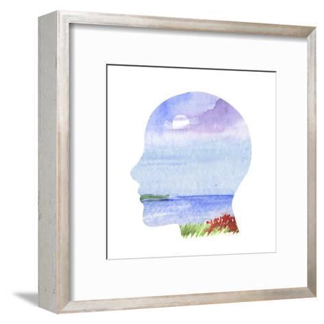 Human Profile with Sea Landscape- carlacastagno-Framed Art Print