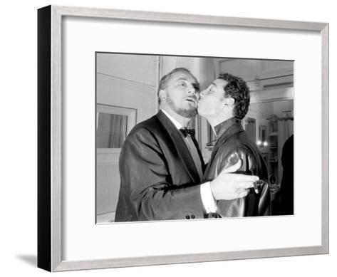 Pierre and Claude Brasseur Kissing-Marcel Begoin-Framed Art Print