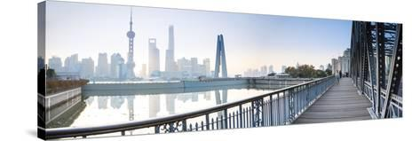 Pudong Skyline across the Suzhou Creek and Waibaidu Bridge, Shanghai, China-Jon Arnold-Stretched Canvas Print