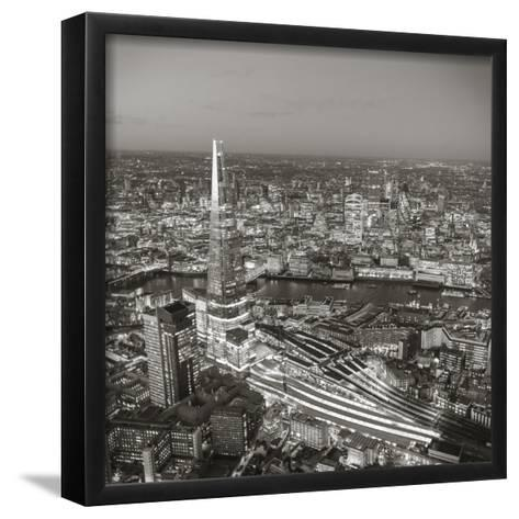 Night Aerial View of the Shard and City of London, London, England-Jon Arnold-Framed Art Print