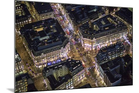 Night Aerial View of Oxford Circus, London, England-Jon Arnold-Mounted Photographic Print