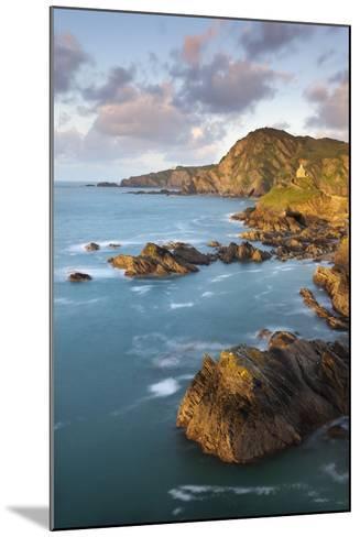 St Nicholas Chapel and Beacon Point on the Rocky Coast of Ilfracombe, Devon, England. Spring-Adam Burton-Mounted Photographic Print